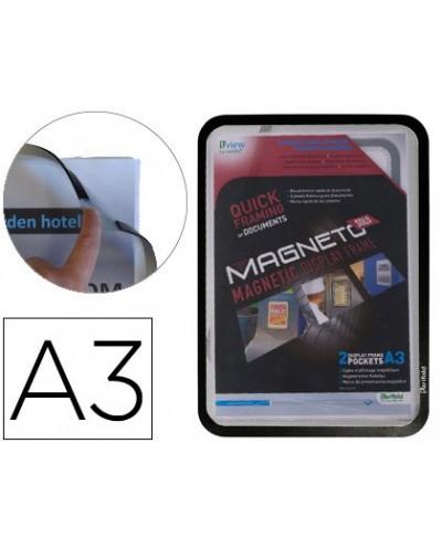 Marco porta anuncios tarifold magneto din a3 con 4 bandas magneticas en el dorso color negro pack de 2 unidades