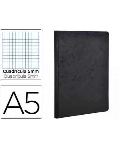 Libreta age bag tapa cartulina lomo cosido cuadro 5 mm 96 hojas color negro 148x210 mm