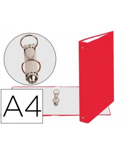 Carpeta de 2 anillas 30mm redondas exacompta din a4 carton forrado rojo