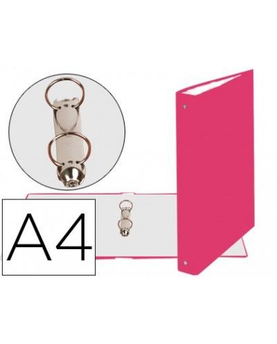 Carpeta de 2 anillas 30mm redondas exacompta din a4 carton forrado rosa