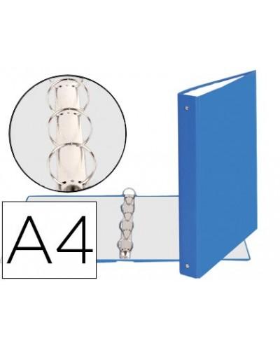 Carpeta de 4 anillas 30mm redondas exacompta din a4 carton forrado azul claro