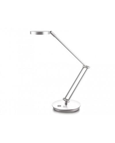 Lampara de oficina cep acero y aluminio base brazo gris metal con pulsador tactil y espejo de 100 mm de diametro