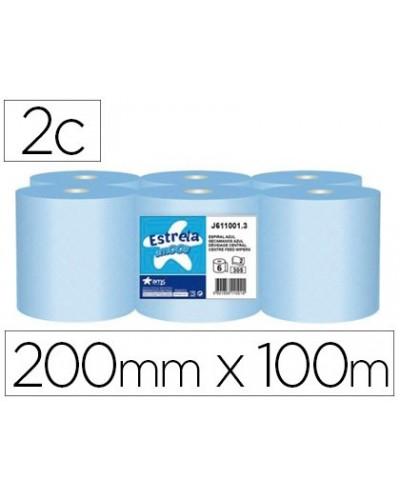 Papel secamanos amoos 2 capas 200 mm x 100 mt color azul paquete de 6 rollos