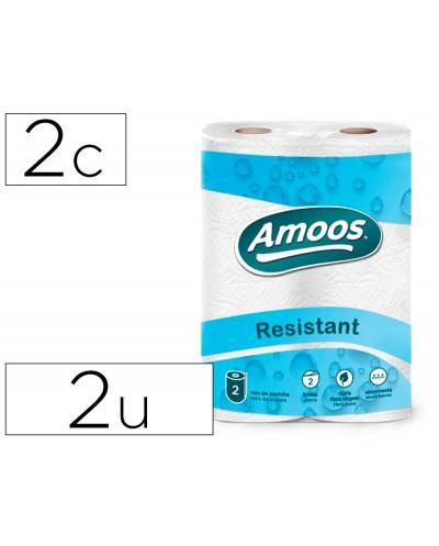 Papel de cocina amoos 21g m2 ancho 240 mm largo 10 mt 2 capas paquete de 2 rollos
