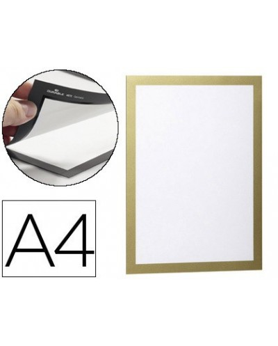 Marco porta anuncios durable magnetico din a4 dorso adhesivo removible color oro pack de 2 unidades