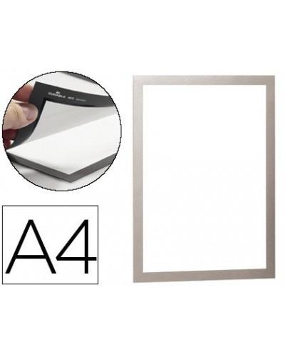 Marco porta anuncios durable magnetico din a4 dorso adhesivo removible color plata pack de 2 unidades