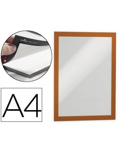 Marco porta anuncios durable magnetico din a4 dorso adhesivo removible color naranja pack de 2 unidades