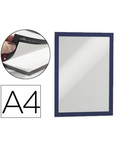Marco porta anuncios durable magnetico din a4 dorso adhesivo removible color azul pack de 2 unidades