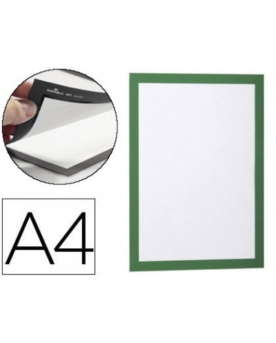 Marco porta anuncios durable magnetico din a4 dorso adhesivo removible color verde pack de 2 unidades