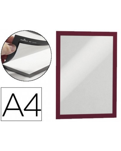 Marco porta anuncios durable magnetico din a4 dorso adhesivo removible color rojo pack de 2 unidades