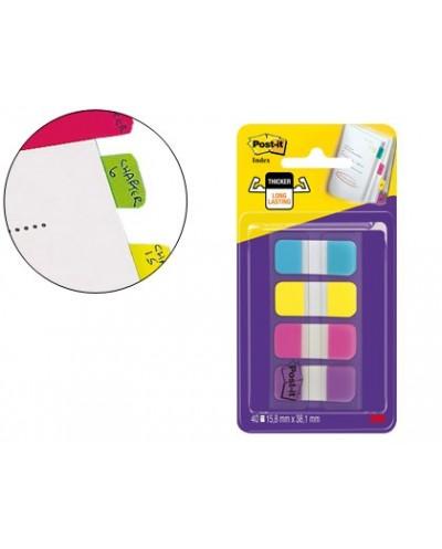 Banderitas separadoras rigidas dispensador 4 colores amarillo azul rosa y violeta post it index 676 aypv eu