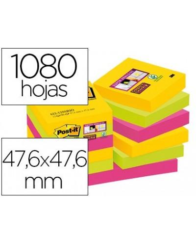 Bloc de notas adhesivas quita y pon post it super sticky 476x476 mm con 90 hojas pack de 12 bloc colores