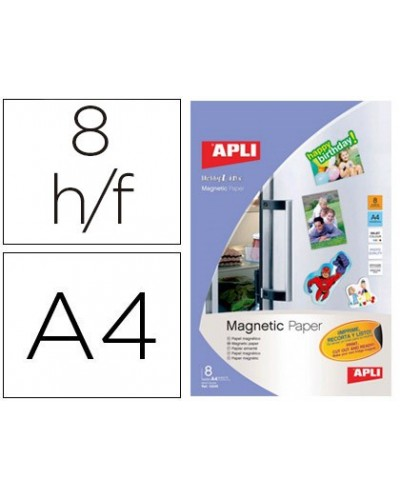 Papel magnetico apli blanco din a4 para impresoras inkjet paquete de 8 hojas