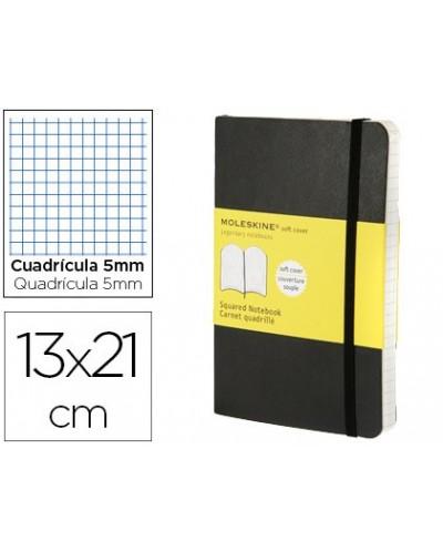 Libreta moleskine tapa blanda cuadro 5 mm 240 hojas color negro cierre con goma 130x210 mm