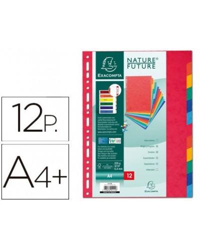 Separador exacompta cartulina simil prespan juego de 12 separadores din a4 multitaladro colores vivos