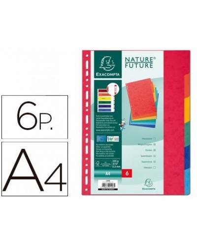 Separador exacompta cartulina simil prespan juego de 6 separadores din a4 multitaladro colores vivos
