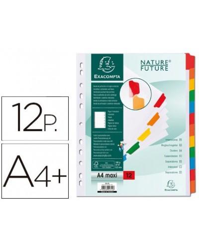 Separador exacompta cartulina juego de 12 separadores din a4 multitaladro color blanco