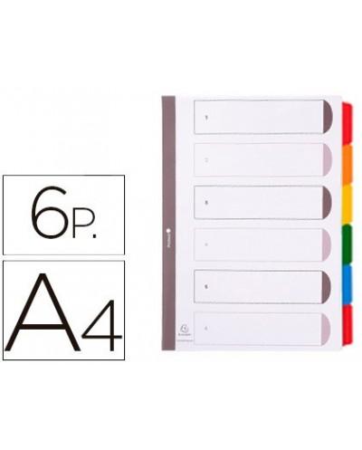 Separador exacompta cartulina juego de 6 separadores din a4 multitaladro color blanco