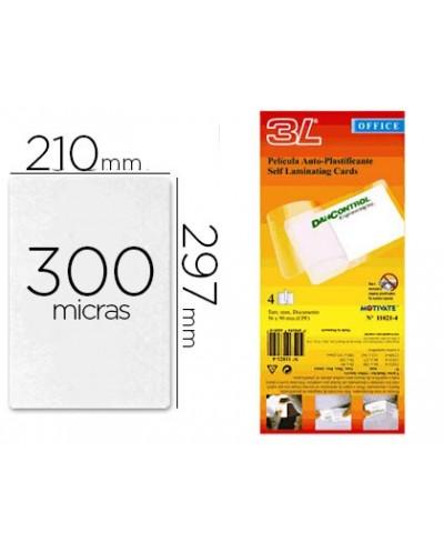 Bolsa de plastificar 3l office manual en frio 300 mc din a4 con dorso adhesivo pack 10 unidades