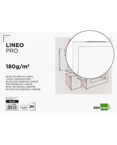 Bloc dibujo liderpapel lineal encolado 230x325mm 20 hojas 180 g m2 con recuadro