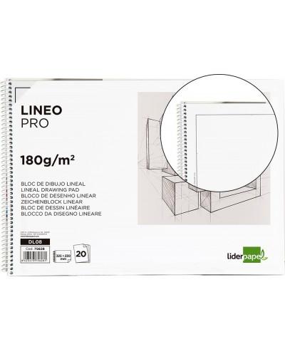 Bloc dibujo liderpapel lineal espiral 230x325mm 20 hojas 180 g m2 con recuadro perforado