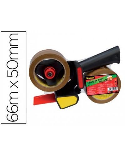 Portarrollo scotch para embalaje heavy duty bajo ruidocon 2 rollos de cintas marron 50 mm x 66 mt