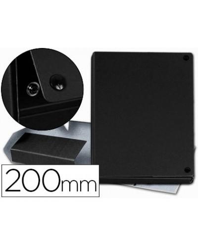 Carpeta proyectos pardo folio lomo 200 mm carton forrado negro con broche
