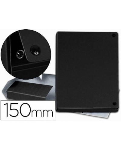 Carpeta proyectos pardo folio lomo 150 mm carton forrado negro con broche