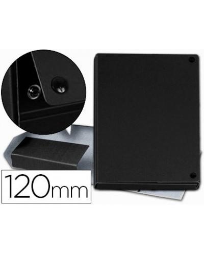 Carpeta proyectos pardo folio lomo 120 mm carton forrado negro con broche