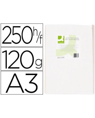 Papel fotocopiadora q connect ultra white din a3 120 gramos paquete de 250 hojas