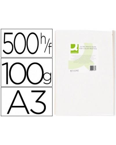 Papel fotocopiadora q connect ultra white din a3 100 gramos paquete de 500 hojas