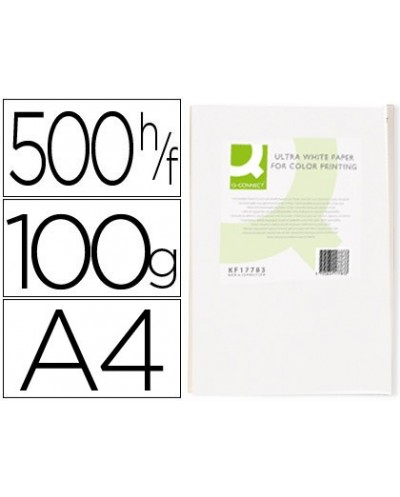Papel fotocopiadora q connect ultra white din a4 100 gramos paquete de 500 hojas