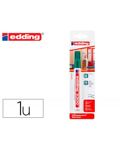 Rotulador edding marcador permanente 3000 n4 verde punta redonda 15 3 mm blister de 1 unidad
