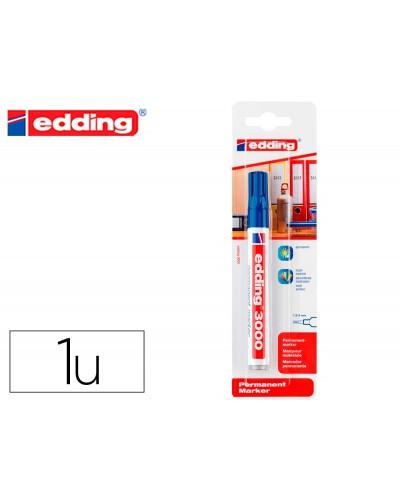 Rotulador edding marcador permanente 3000 azul n3 punta redonda 15 3 mm blister de 1 unidad