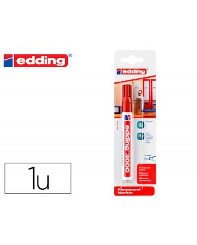 Rotulador edding marcador permanente 3000 rojo n2 punta redonda 15 3 mm blister de 1 unidad