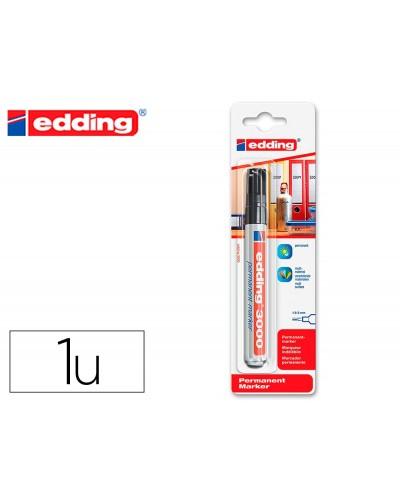 Rotulador edding marcador permanente 3000 negro n1 punta redonda 15 3 mm blister de 1 unidad