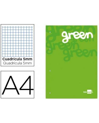 Bloc encolado liderpapel cuadro 5 mm verde a4 natural 100 hojas 100 g m2
