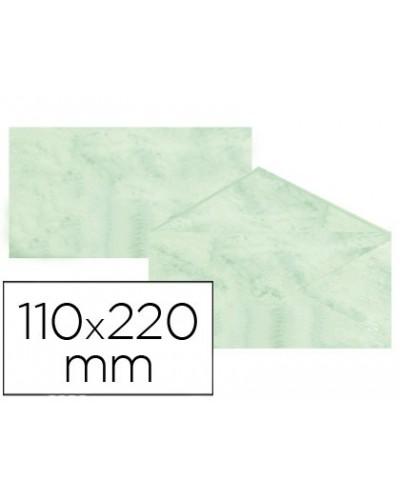 Sobre fantasia marmoleado verde 110x220 mm 90 gr paquete de 25