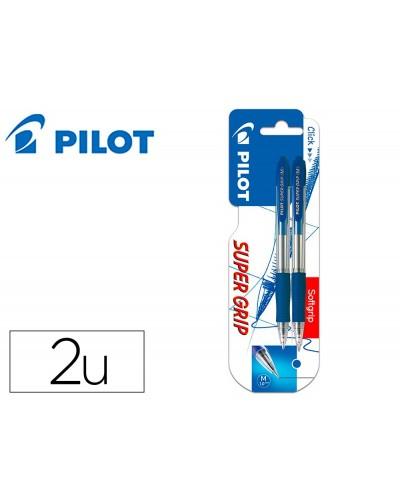 Boligrafo pilot super grip azul retractil sujecion de caucho tinta base de aceite en blister de 2 unidades