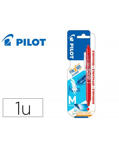 Boligrafo pilot frixion clicker borrable 07 mm punta media rojo en blister