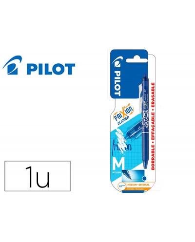 Boligrafo pilot frixion clicker borrable 07 mm punta media azul en blister