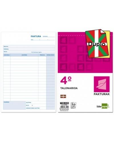 Talonario liderpapel facturas cuarto original y copia con iva t216 eus texto en euskera