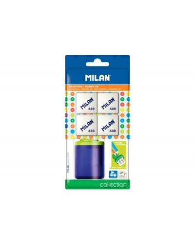 Sacapuntas milan collection plastico 2 usos 4 gomas 430