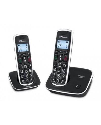 Telefono inalambrico spc duo telecom 7609 n color negro identificador de llamadas agenda pantalla
