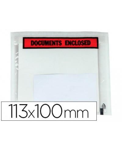 Sobre autoadhesivo q connect portadocumentos multilingue 113x100 mm sin ventana paquete de 100 unidades