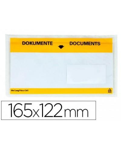 Sobre autoadhesivo q connect portadocumentos multilingue 165x122 mm ventana transparente paquete de 100