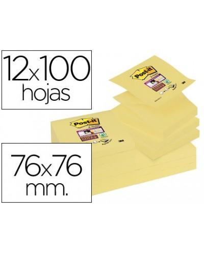 Bloc de notas adhesivas quita y pon post it super sticky 76x76 mm zigzag con 12 bloc amarillo canario