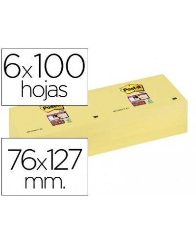 Bloc de notas adhesivas quita y pon post it super sticky 76x127 mm con 12 bloc amarillo canario