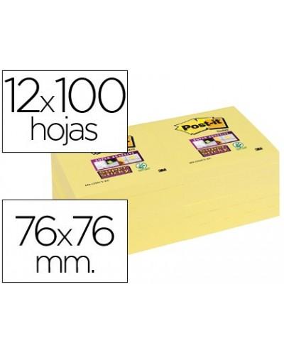 Bloc de notas adhesivas quita y pon post it super sticky 76x76 mm con 12 bloc amarillo canario