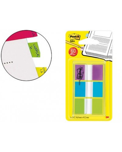 Banderitas separadoras post index 680 roy verde azul y violeta dispensador funda 3x20